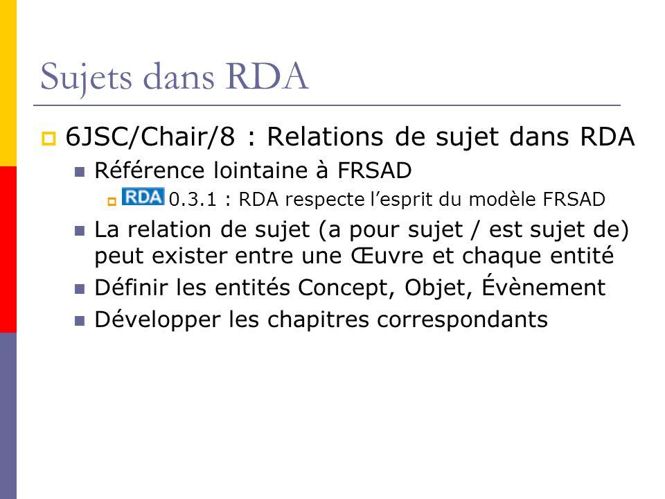 Sujets dans RDA 6JSC/Chair/8 : Relations de sujet dans RDA