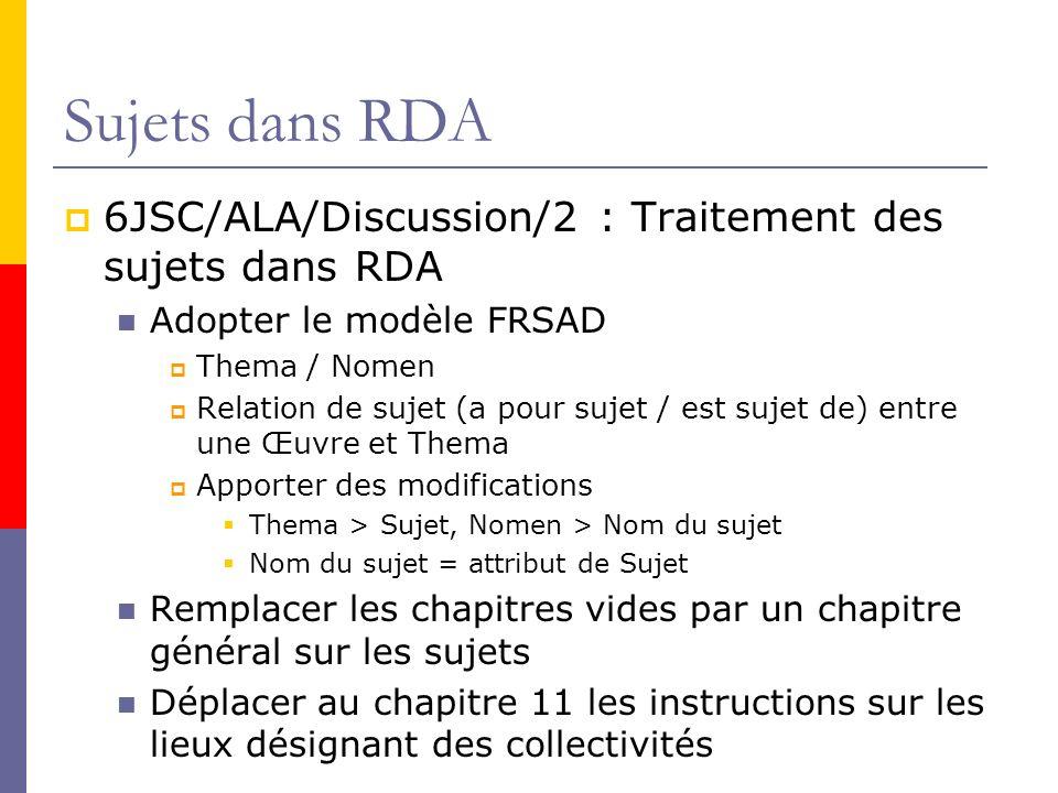 Sujets dans RDA 6JSC/ALA/Discussion/2 : Traitement des sujets dans RDA
