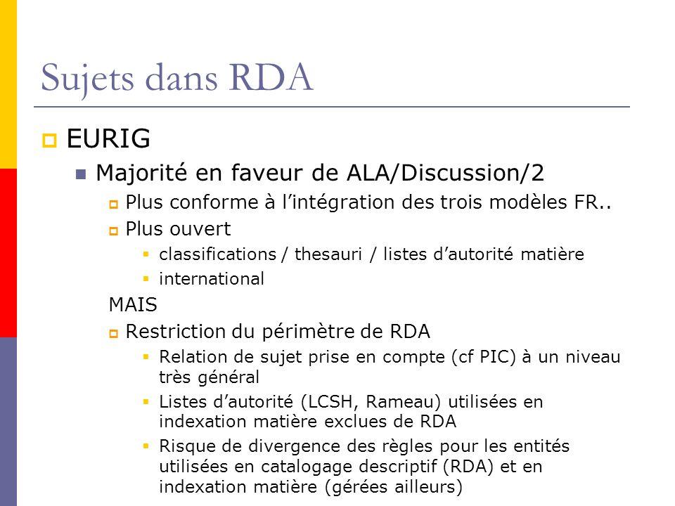 Sujets dans RDA EURIG Majorité en faveur de ALA/Discussion/2