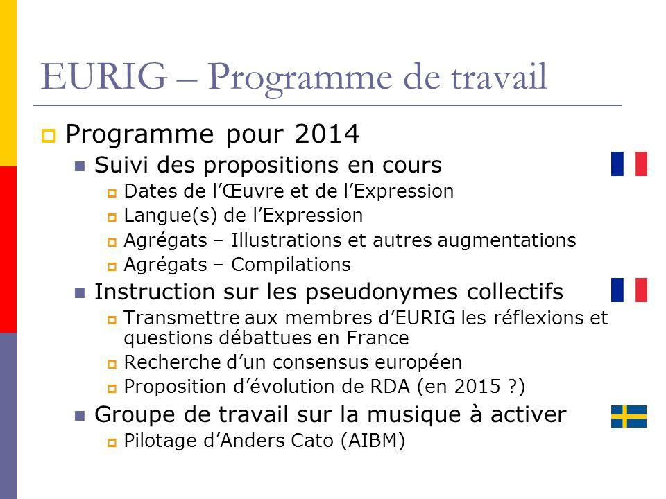 EURIG – Programme de travail