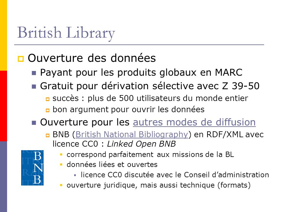 British Library Ouverture des données