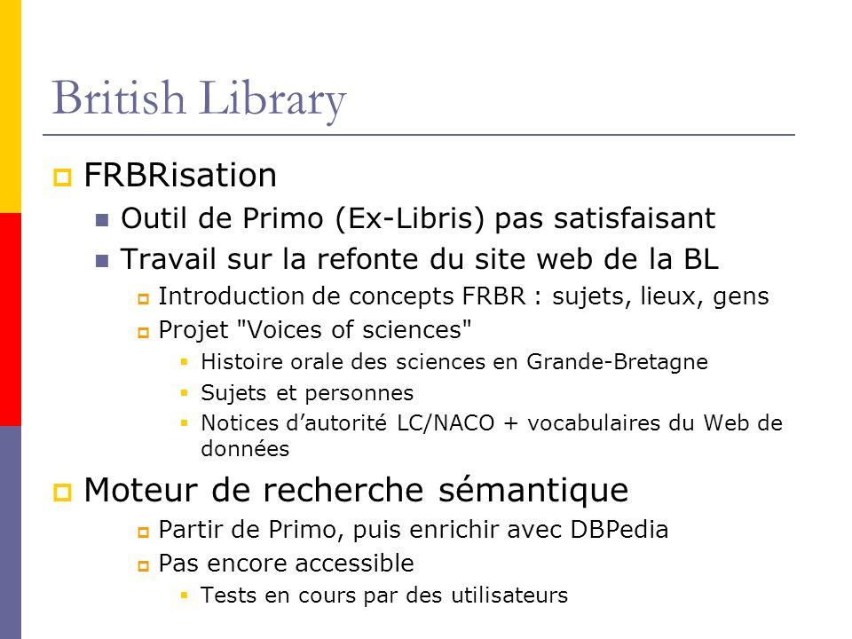 British Library FRBRisation Moteur de recherche sémantique