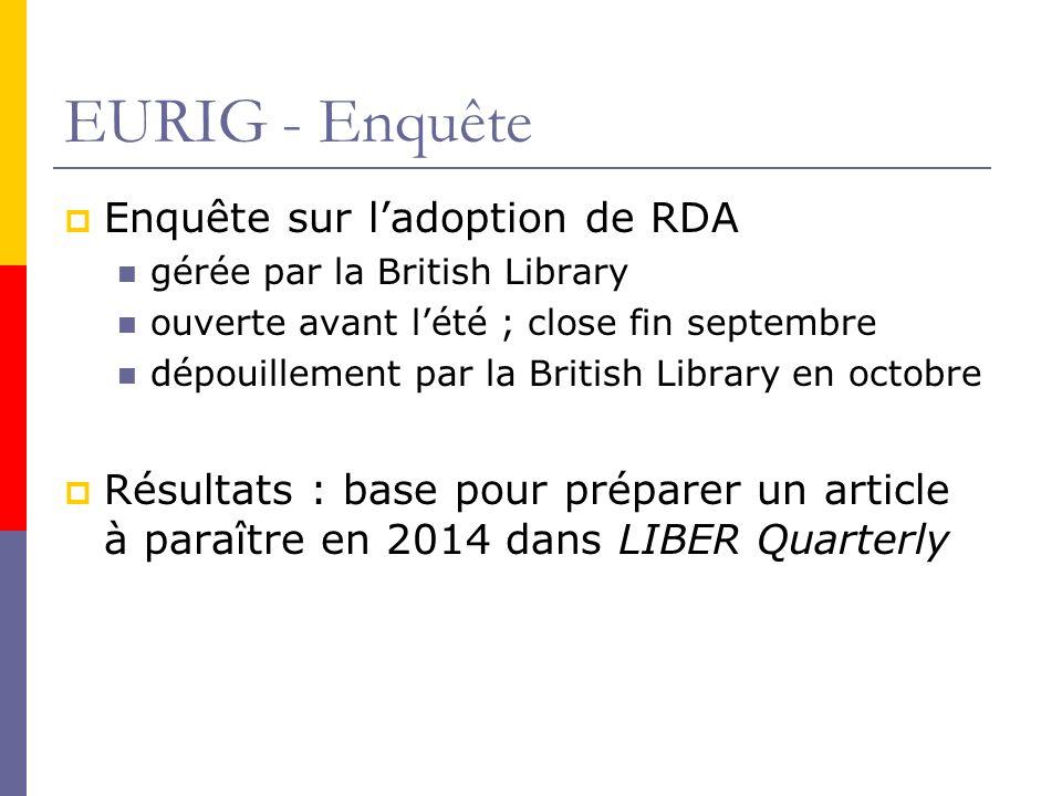 EURIG - Enquête Enquête sur l'adoption de RDA