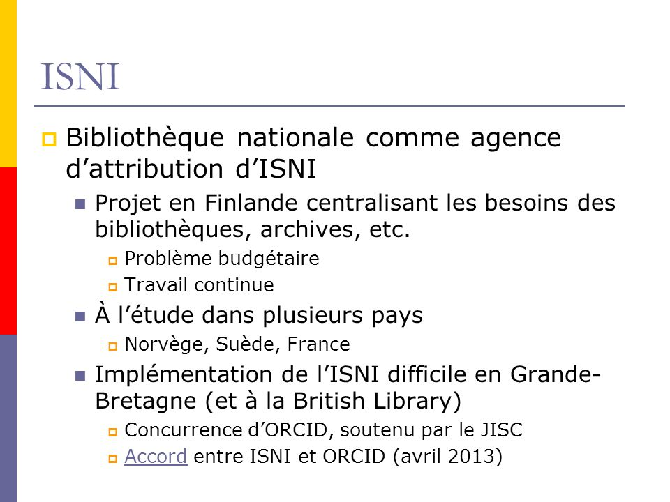 ISNI Bibliothèque nationale comme agence d'attribution d'ISNI
