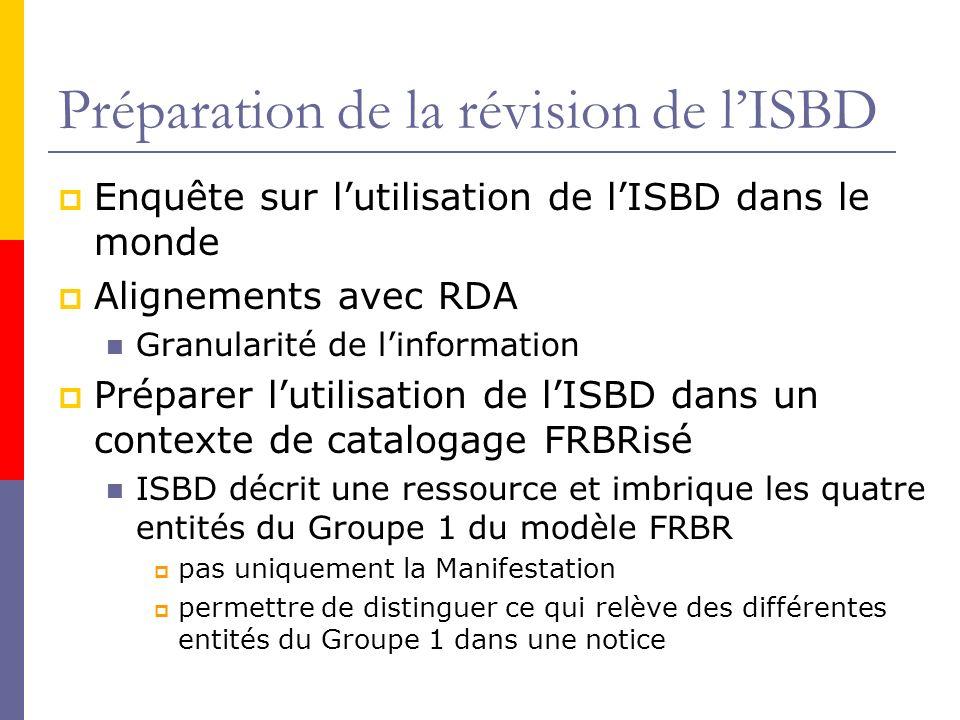 Préparation de la révision de l'ISBD