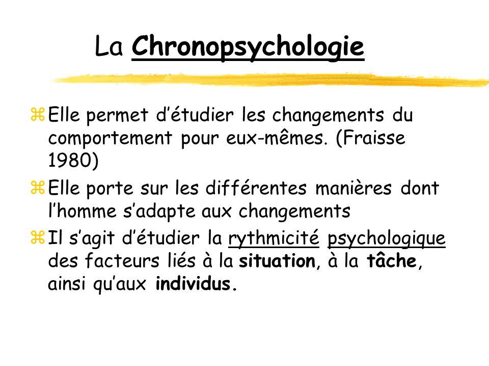 La Chronopsychologie Elle permet d'étudier les changements du comportement pour eux-mêmes. (Fraisse 1980)