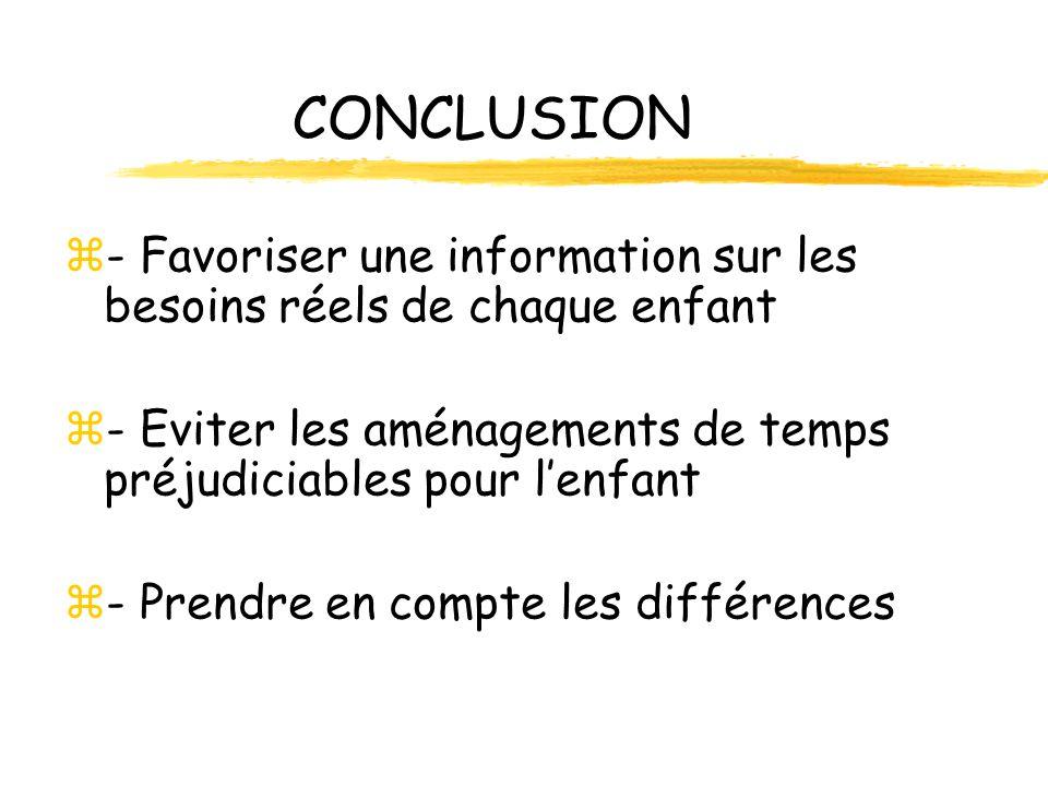 CONCLUSION - Favoriser une information sur les besoins réels de chaque enfant. - Eviter les aménagements de temps préjudiciables pour l'enfant.