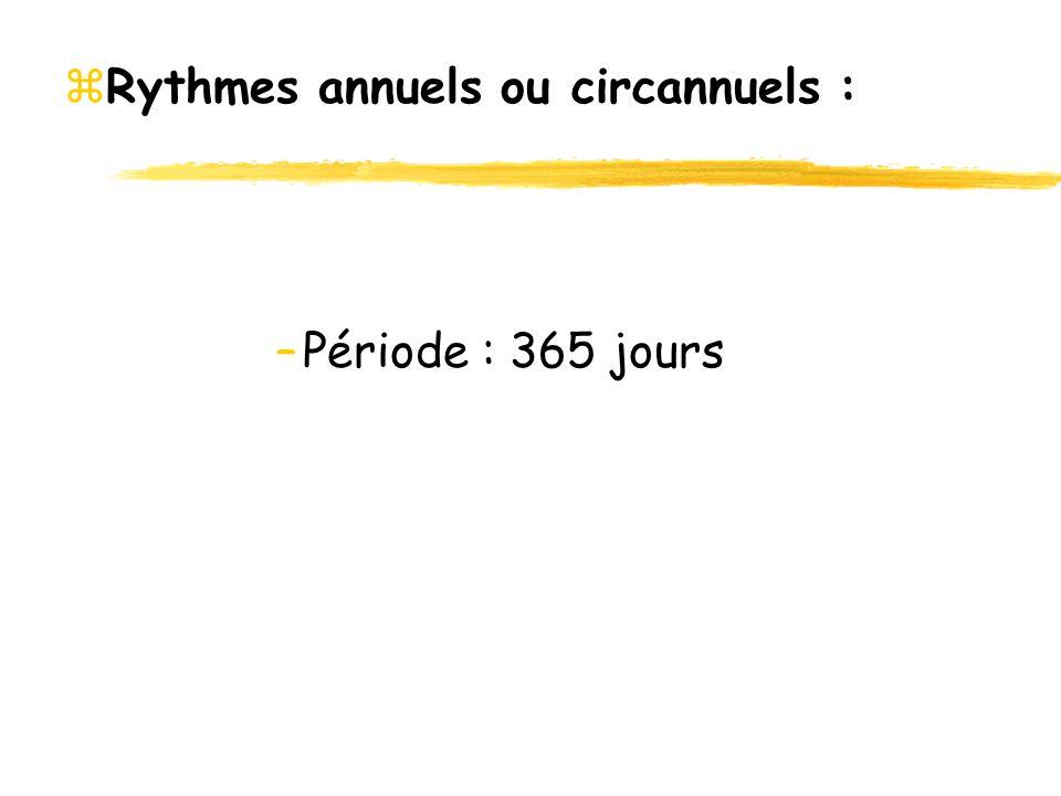 Rythmes annuels ou circannuels :
