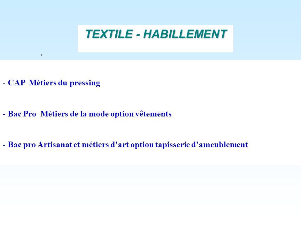 TEXTILE - HABILLEMENT . CAP Métiers du pressing