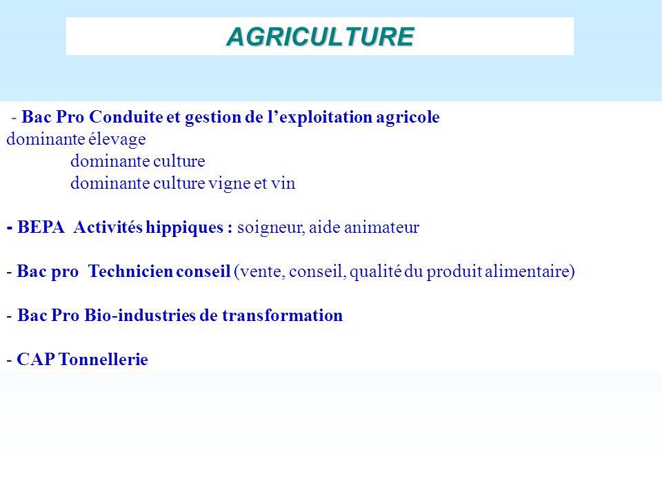 AGRICULTURE - Bac Pro Conduite et gestion de l'exploitation agricole