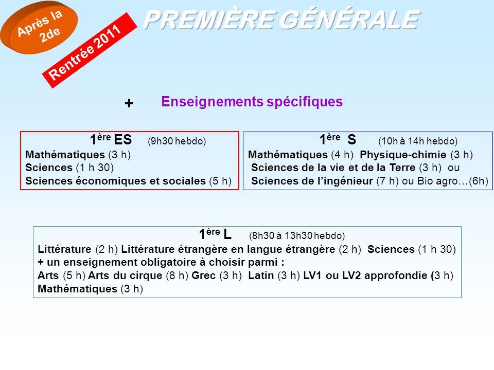 PREMIÈRE GÉNÉRALE + Rentrée 2011 Enseignements spécifiques