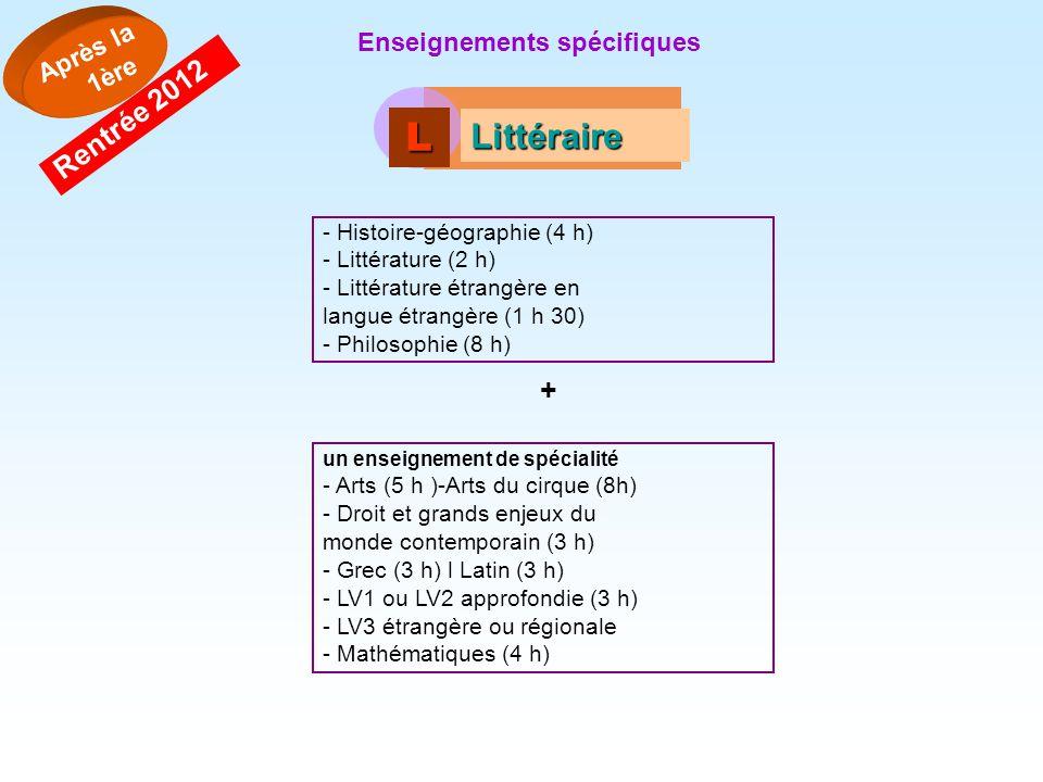 L Littéraire Rentrée 2012 + Après la 1ère Enseignements spécifiques