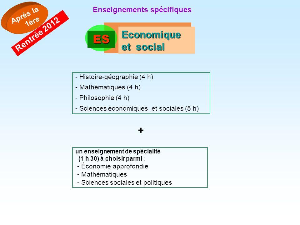 ES Economique et social + Rentrée 2012 Après la 1ère