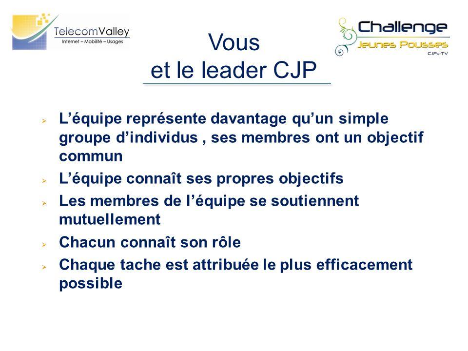 Vous et le leader CJP L'équipe représente davantage qu'un simple groupe d'individus , ses membres ont un objectif commun.