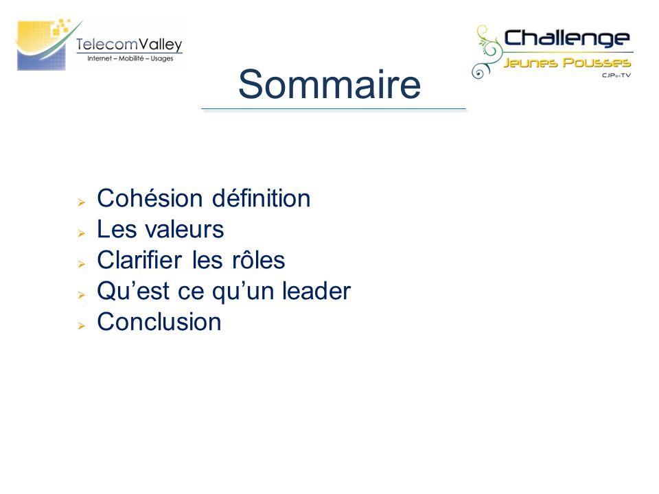Sommaire Cohésion définition Les valeurs Clarifier les rôles