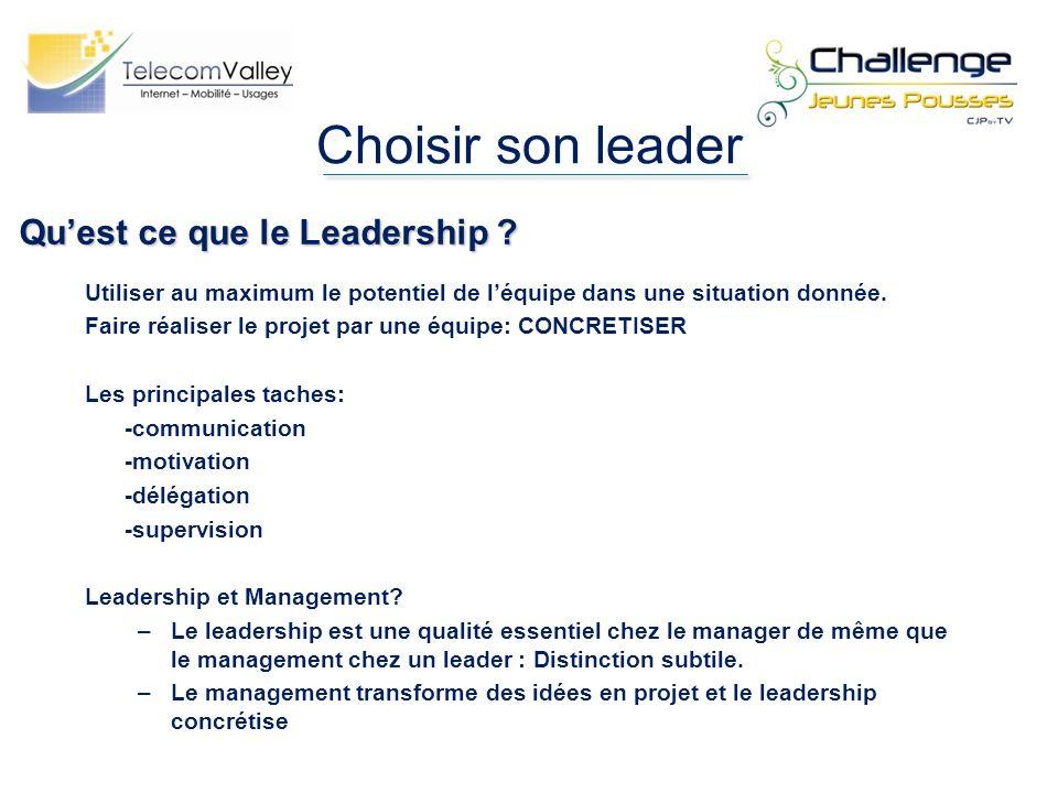 Choisir son leader Qu'est ce que le Leadership