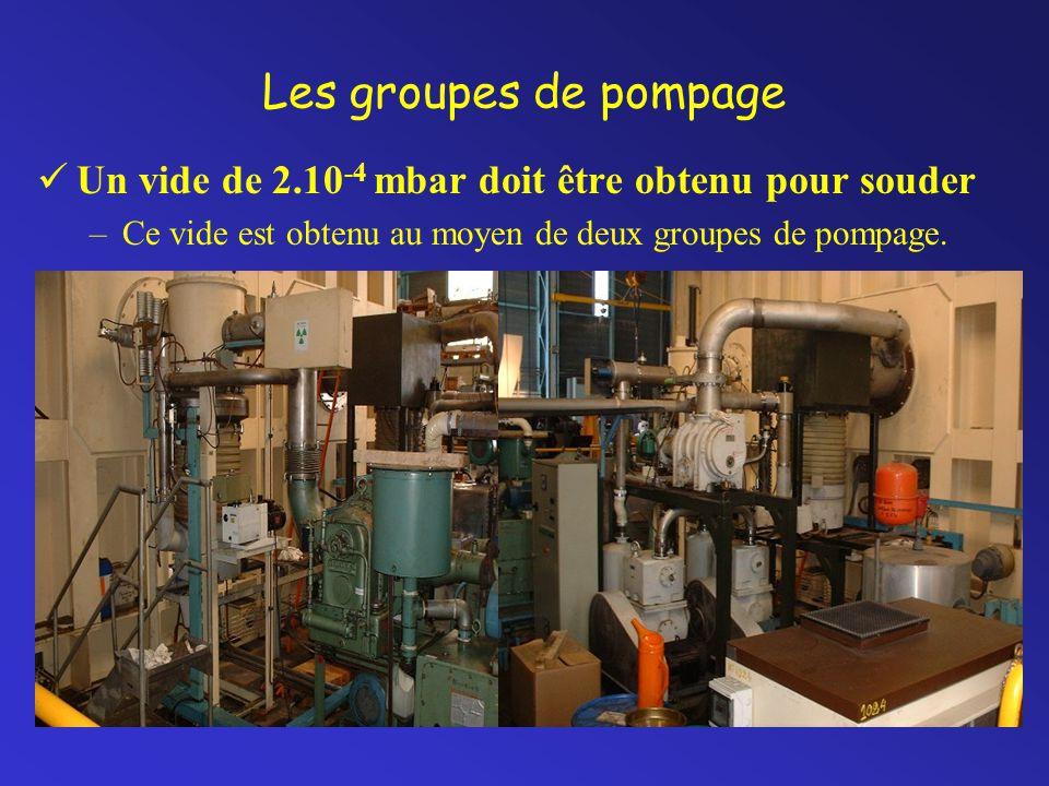 Les groupes de pompage Un vide de 2.10-4 mbar doit être obtenu pour souder.