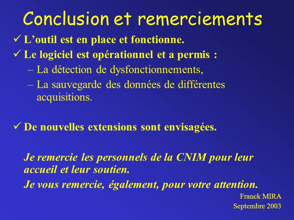 Conclusion et remerciements