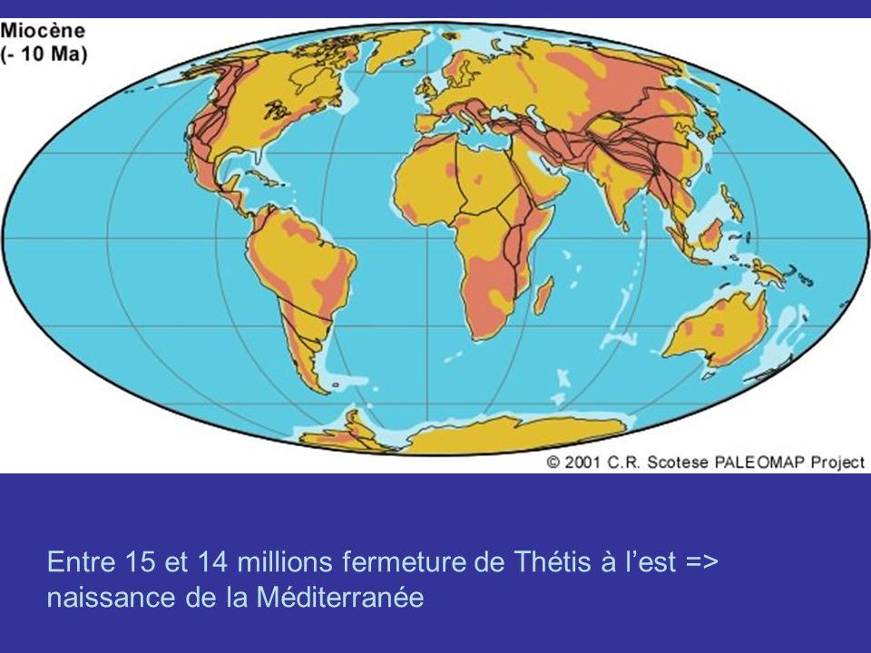 Entre 15 et 14 millions fermeture de Thétis à l'est => naissance de la Méditerranée
