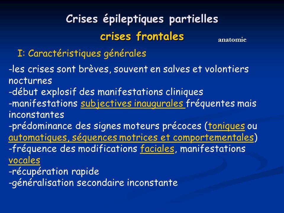 Crises épileptiques partielles crises frontales