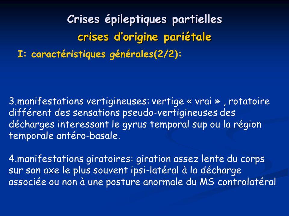 Crises épileptiques partielles crises d'origine pariétale
