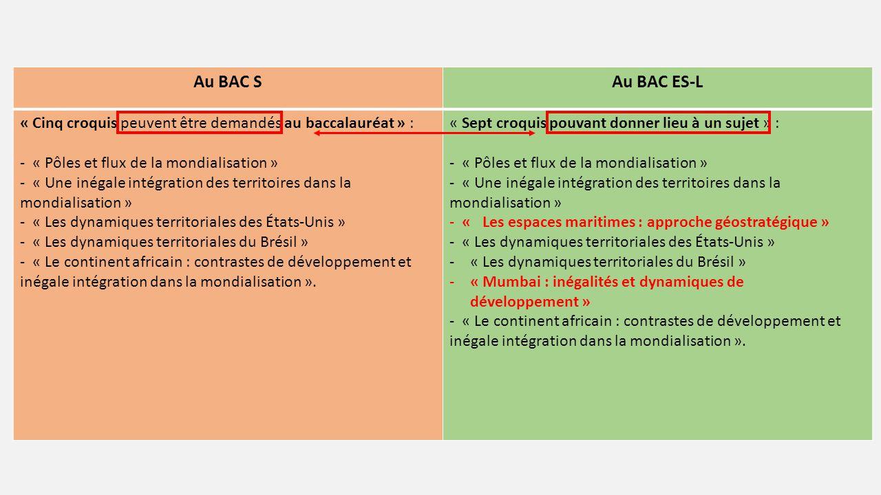Au BAC S Au BAC ES-L. « Cinq croquis peuvent être demandés au baccalauréat » : - « Pôles et flux de la mondialisation »