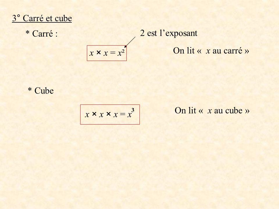 3° Carré et cube * Carré : 2 est l'exposant On lit « x au carré »