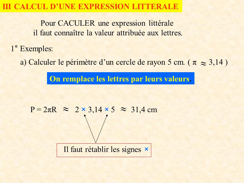 III CALCUL D'UNE EXPRESSION LITTERALE