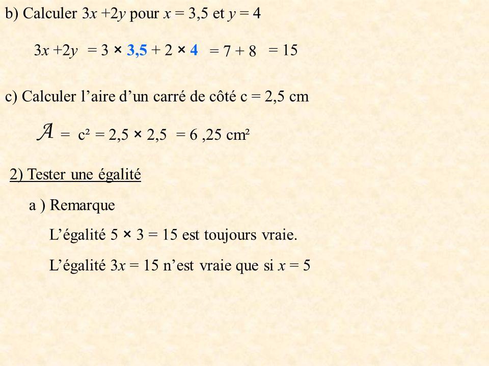 A b) Calculer 3x +2y pour x = 3,5 et y = 4 3x +2y = 3 × 3,5 + 2 × 4