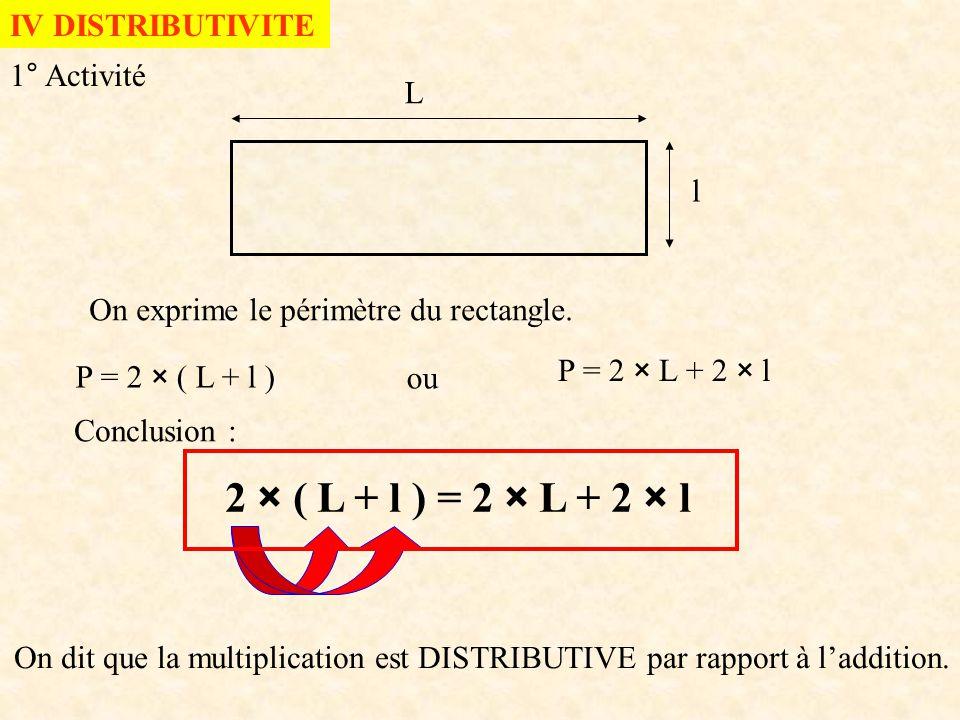 2 × ( L + l ) = 2 × L + 2 × l IV DISTRIBUTIVITE 1° Activité L l