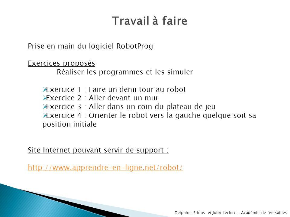 Travail à faire Prise en main du logiciel RobotProg Exercices proposés
