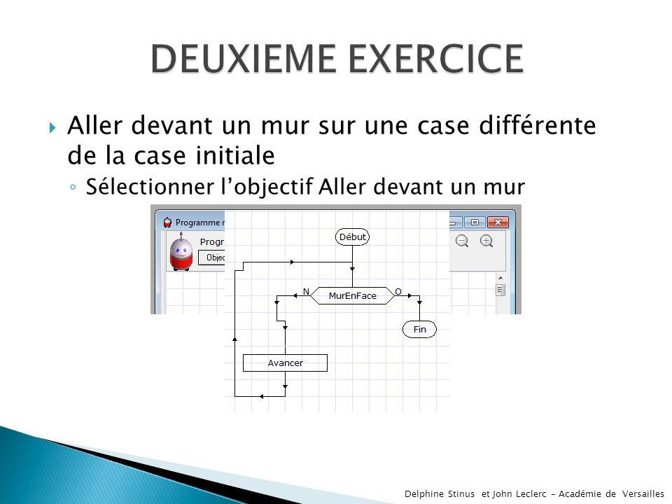DEUXIEME EXERCICE Aller devant un mur sur une case différente de la case initiale. Sélectionner l'objectif Aller devant un mur.