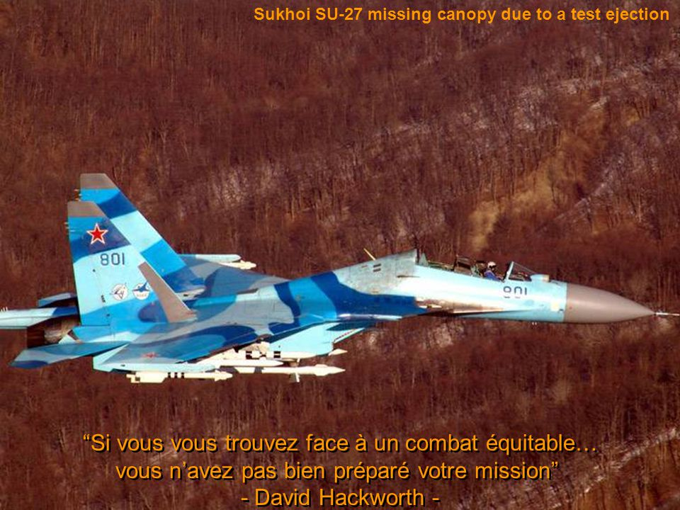 Sukhoi SU-27 missing canopy due to a test ejection