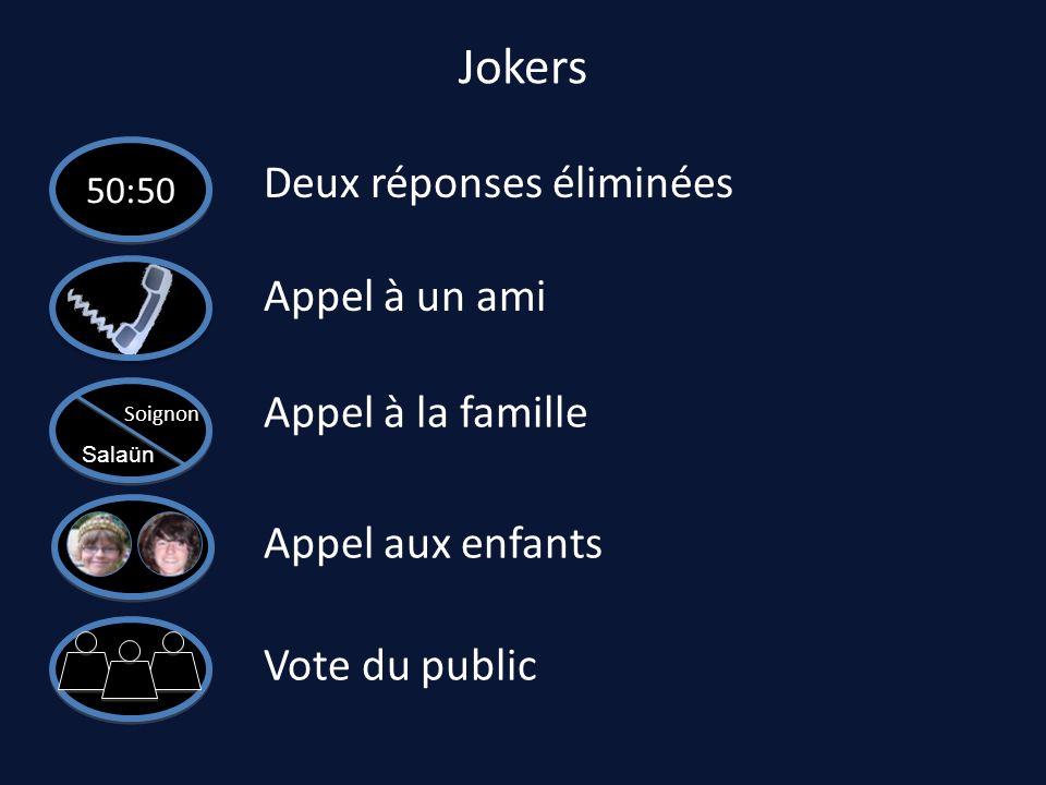 Jokers Deux réponses éliminées Appel à un ami Appel à la famille