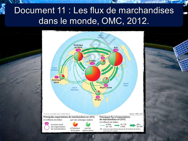 Document 11 : Les flux de marchandises dans le monde, OMC, 2012.