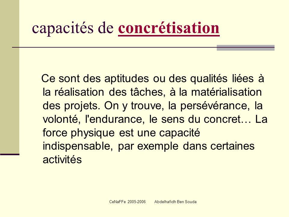 capacités de concrétisation