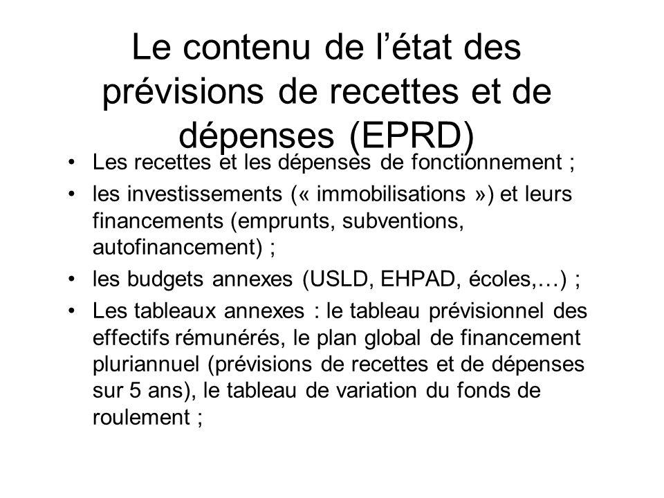 Le contenu de l'état des prévisions de recettes et de dépenses (EPRD)