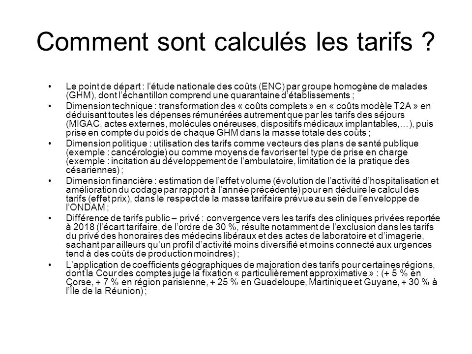 Comment sont calculés les tarifs