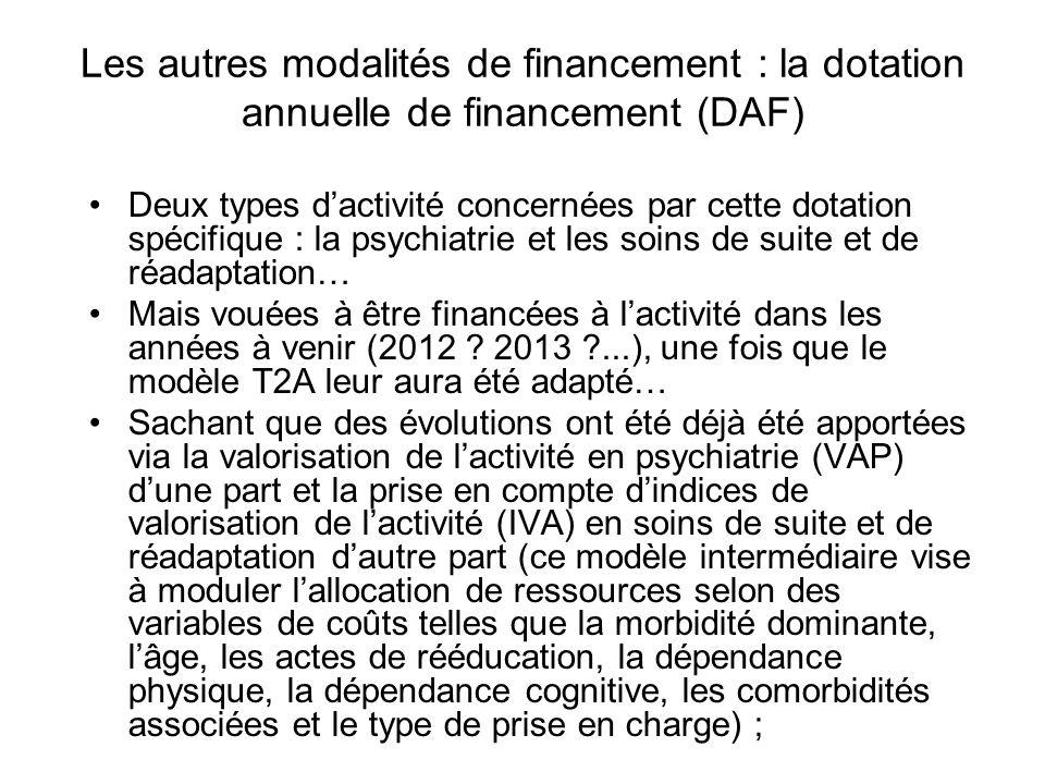 Les autres modalités de financement : la dotation annuelle de financement (DAF)