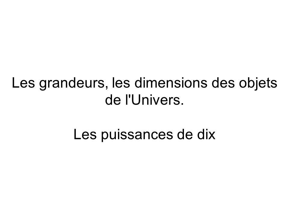 Les grandeurs, les dimensions des objets de l Univers
