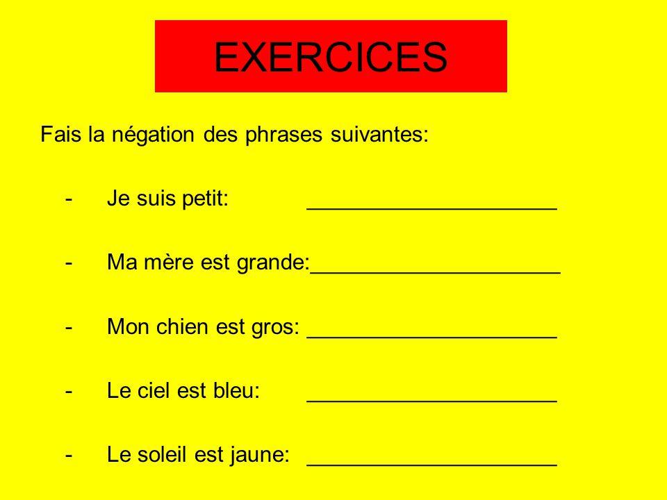 EXERCICES Fais la négation des phrases suivantes: