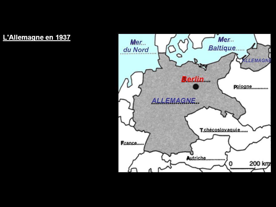 Berlin L Allemagne en 1937 Mer Baltique ALLEMAGNE Mer du Nord URSS
