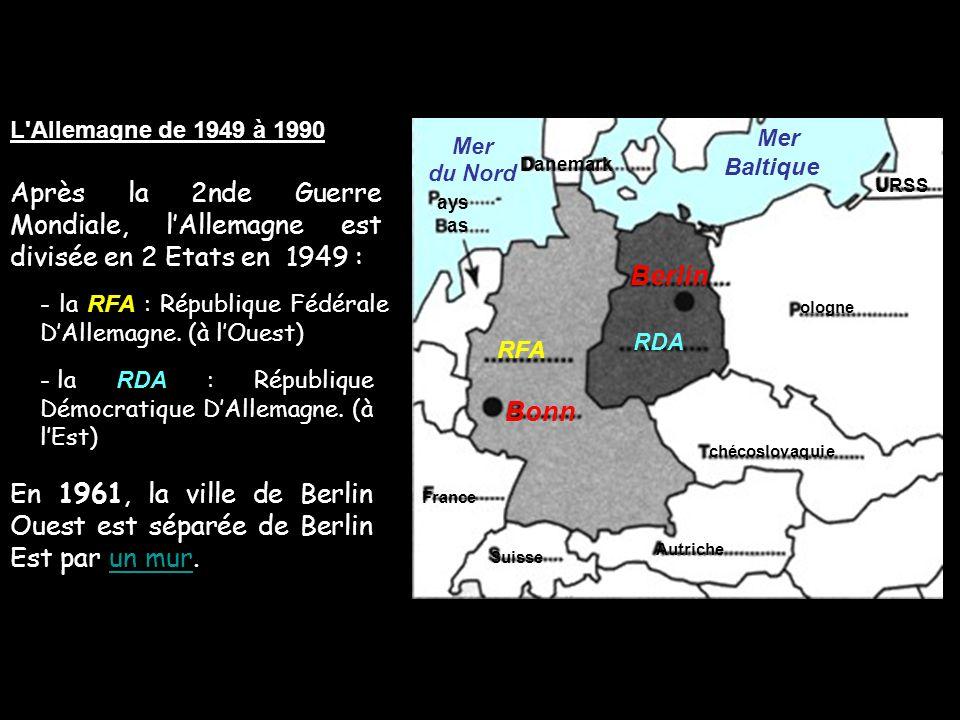 L Allemagne de 1949 à 1990 Mer. Baltique. Mer. du Nord. Danemark. Après la 2nde Guerre Mondiale, l'Allemagne est divisée en 2 Etats en 1949 :