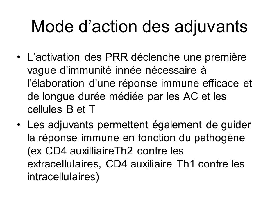 Mode d'action des adjuvants