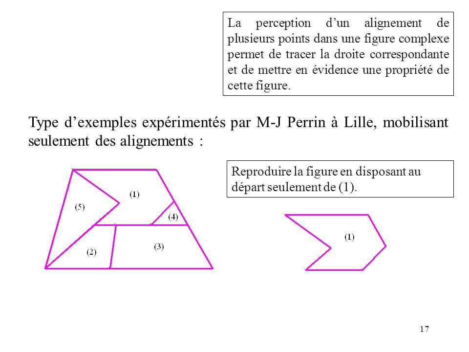 La perception d'un alignement de plusieurs points dans une figure complexe permet de tracer la droite correspondante et de mettre en évidence une propriété de cette figure.