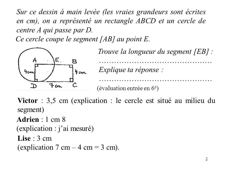 Sur ce dessin à main levée (les vraies grandeurs sont écrites en cm), on a représenté un rectangle ABCD et un cercle de centre A qui passe par D.