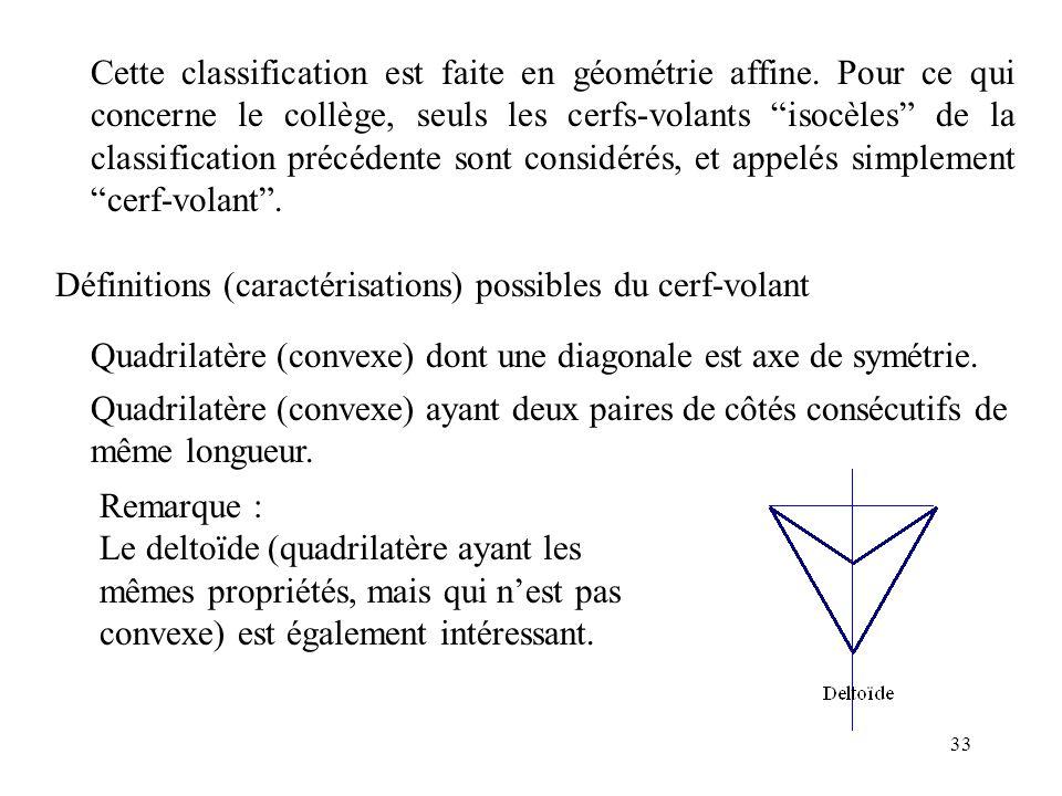 Cette classification est faite en géométrie affine