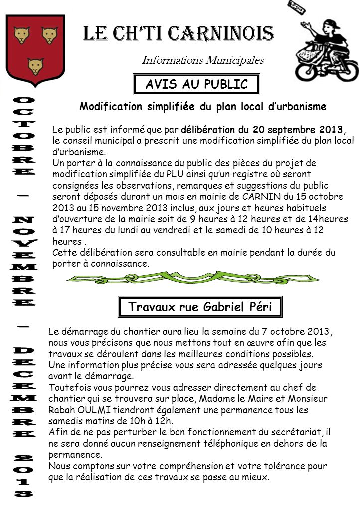 LE CH'TI CARNINOIS Informations Municipales