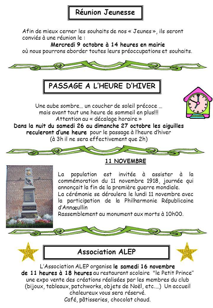 PASSAGE A L'HEURE D'HIVER