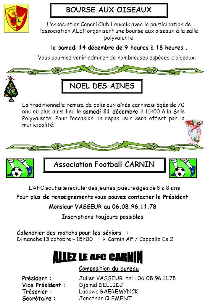 ALLEZ LE AFC CARNIN BOURSE AUX OISEAUX NOEL DES AINES